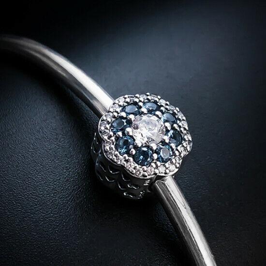 Authentic Pandora S925 BLUE SPARKLE FLOWER CHARM 797851NMB - $13.67