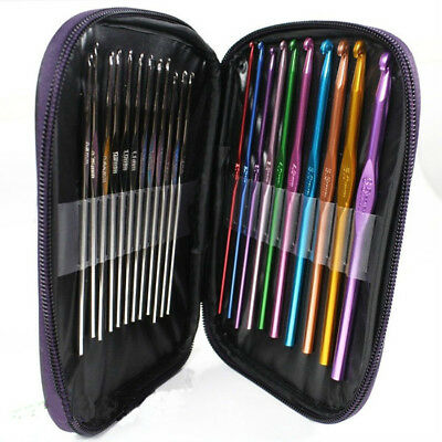 A Set 22pcs Colorful Aluminum Crochet Hooks Needles Knit Weave Craft woolen Yarn