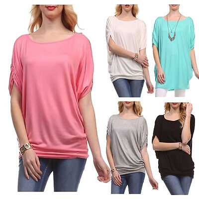 USA Women Scoopneck Tunic Top Dolman Sleeve Batwing Slv Shirring Loose Fit S~3X