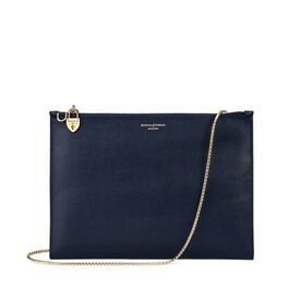 Aspinal Of London designer 'Soho Clutch' bag - Navy & Burgundy Saffiano Leather