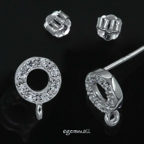 Fine Sterling Silver CZ Circle Post Stud Earring Connector #97426