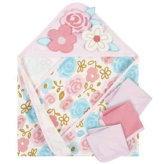 Gerber 4-Piece Girls Princess Hooded Towel and Washcloths Set