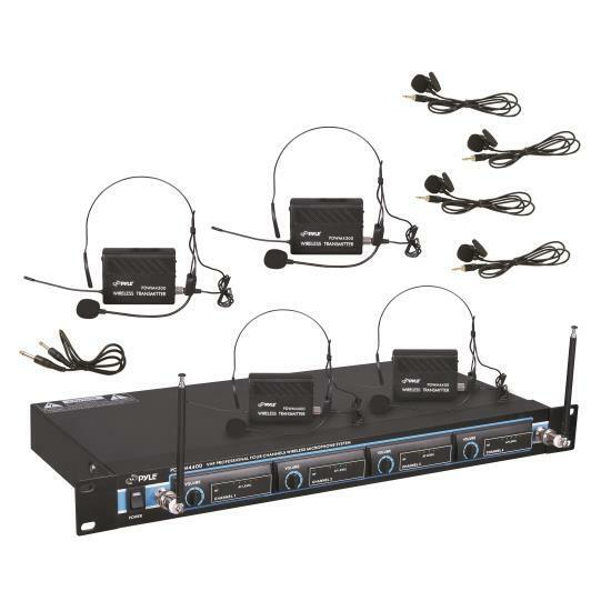 4T51501 - Pyle 4-Channel VHF Wireless Microphone System - Wi