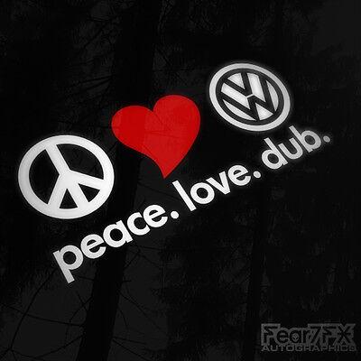 Peace Love Dub Car Sticker Decal For Window Bumper, Camper, Caravan, Golf, VW