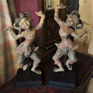 Pr of Antique South East Asian Dancing painted timber statuettes