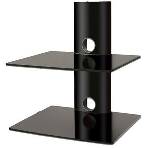 Black Glass DVD Shelves Shelf 2 Tiers for SKY Box Player LCD LED TV Wall Bracket