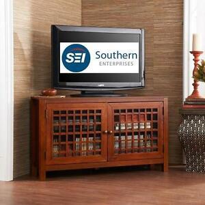 NEW OB SE NARITA CORNER MEDIA STAND SOUTHERN ENTERPRISES STAND CABINET FURNITURE - WALNUT 102495983