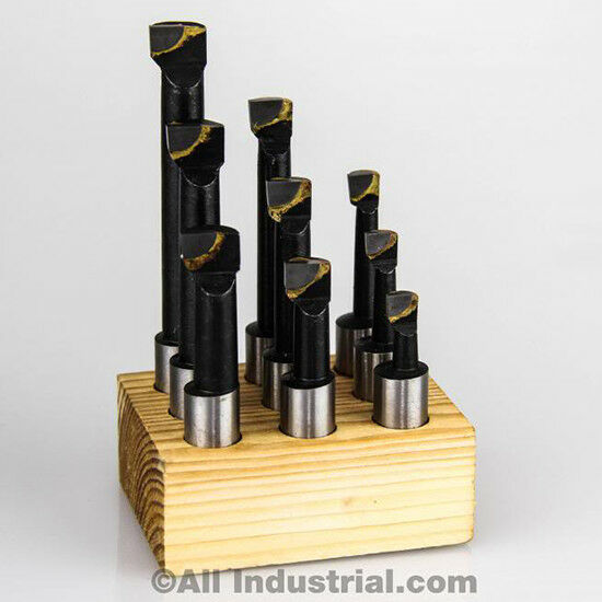 "3/8"" Boring Bar Set Pro Quality 9 Pcs Carbide Tipped Bars 3/8"" Shank Lathe Tool"