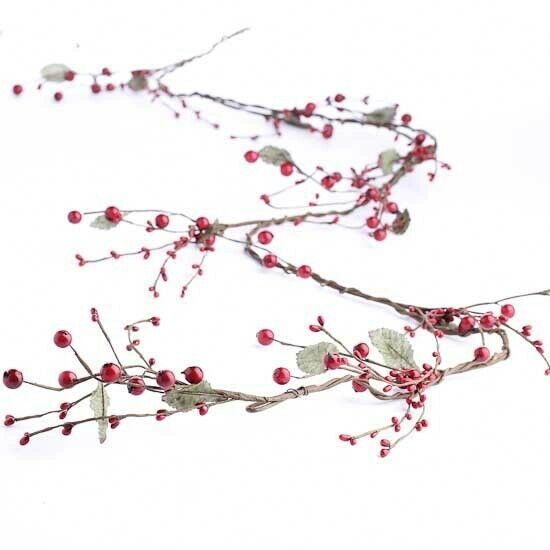 Beautiful Bright Red Assorted Size Holiday Berry Garland with Wrapped Branc