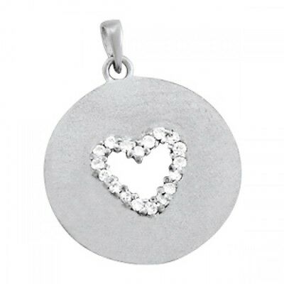 NEW 14k WHITE GOLD DIAMOND ROUND CIRCLE DISC HEART PENDANT CHARM JEWELRY Diamond Round Disc Charm
