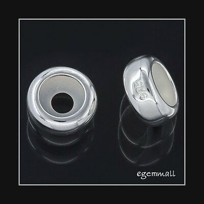 2 Sterling Silver Rubber European Bracelet Stopper Bead 7.6mm #51690