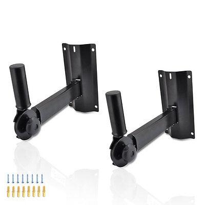 Pyle 2 Universal Adjustable Wall Mount Speaker Bracket Stands 80 lbs PSTNDW15