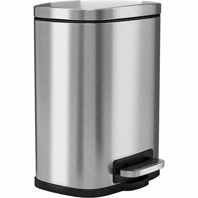 Halo - Premium iTouchless SoftStep 1.3-Gal. Trash Can - Stainless Steel