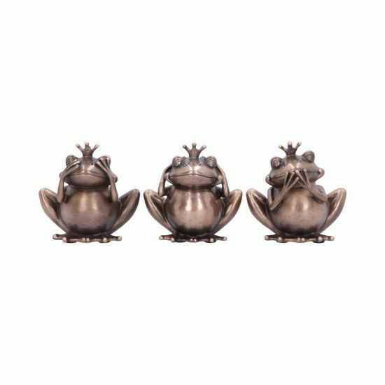 Three Wise Frogs Bronzed Figurines