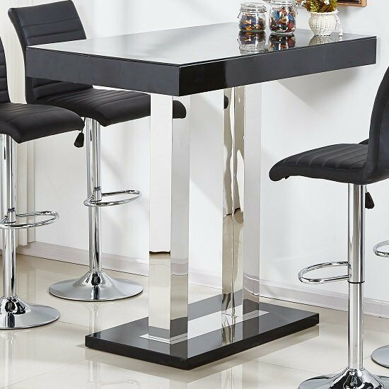 f834349e8e0 Caprice Glass Bar Table In Black High Gloss And Stainless Steel - 147 ...