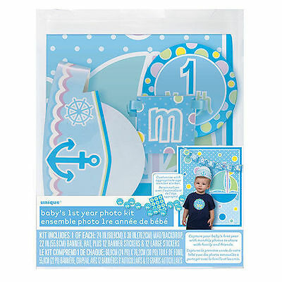 Baby's 1st Year Photo Props Kit Gift Personalize Age Sticker Boy Blue