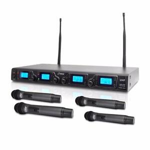 Pyle PDWM4360U Wireless Microphone System, UHF Quad Channel  Includes (4) Handheld Microphones