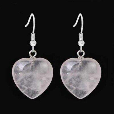Amethyst Heart Dangle Earrings (Natural Amethyst Rose Quartz Lapis Lazuli Heart Shape Dangle Hook Stone Earrings )