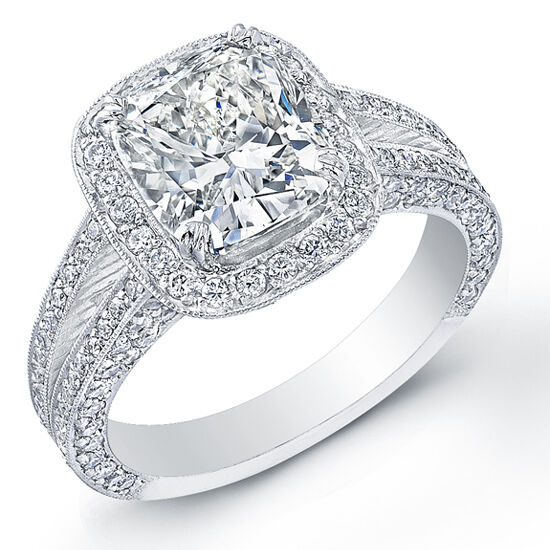 GIA 3.38 Ct Cushion Cut Prong/Micro Pave Diamond Engagement Ring G,VVS2 Platinum
