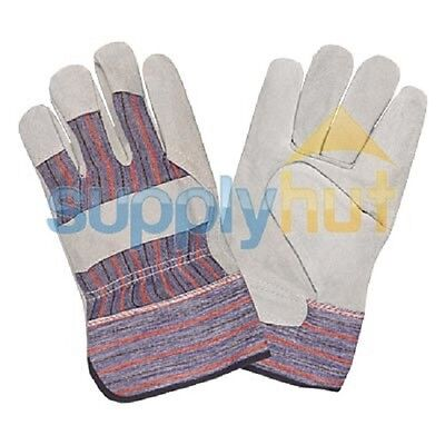 12 Pair Economy Men Leather Work Split Gloves Palm Glove Reinforced Fits All