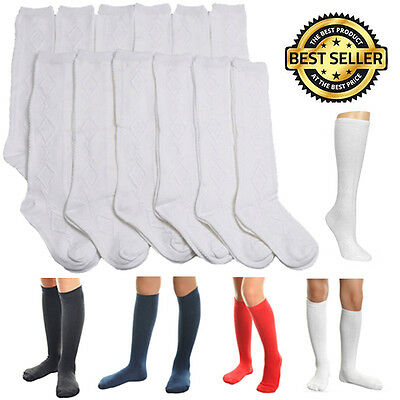 6 12 Pairs Knee High Uniform School Socks Womens Girls Junior Plain Jacquard Junior High Uniforms