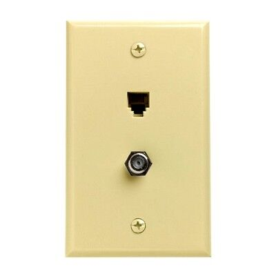 Eagle Dual Ivory Wall Plate Phone Coax Combo Coaxial Telephone Cable Jack Plug