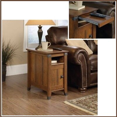 Rustic Oak Nightstand Cabinet End Chair Side Sofa Table Storage Shelf Tray NEW Bedroom Oak End Table
