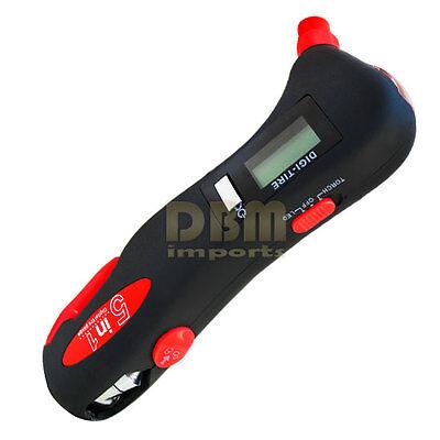 5 in 1 Auto Emergency Tool LED Light Seat Belt Cutter Tire Gauge Breaking Hammer
