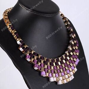 Boho Crystal Rhinestone Gems Beads Choker Bib Statement Necklace Pendant Vintage