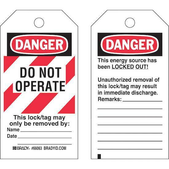 PACK OF 25 BRADY 65520 Y67665 LOCKOUT TAGS: DANGER, DO NOT OPERATE