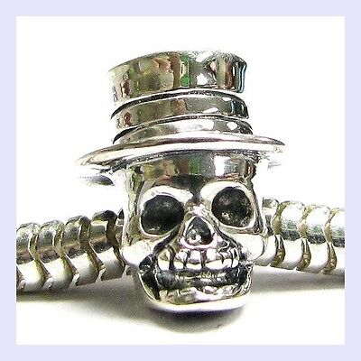 Sterling Silver Skeleton w/ Hat Halloween Head Bead for European Charm - U2 Halloween