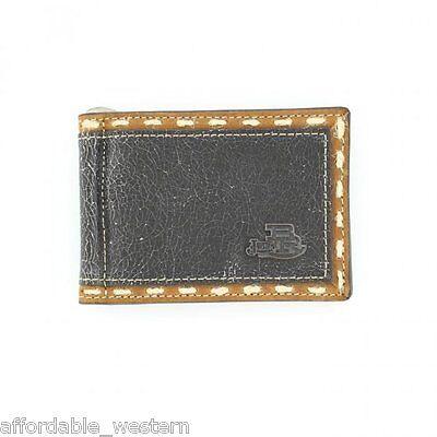 Justin Brown Wallet (Justin® BROWN CrackleLeather ~FRONT POCKET WALLET~ Bi-fold, Window Money Clip 83)