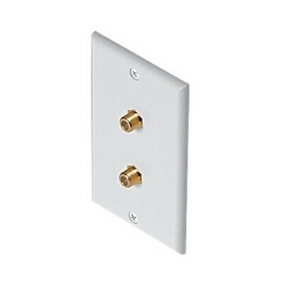 Eagle Dual F Jack Coax Wall Plate White F-81 Coaxial TV 2 Cable Jacks Dual Tv Wall Plate