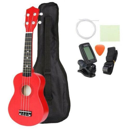 21 Inch Basswood Soprano Ukulele with Gig Bag Tuner Red