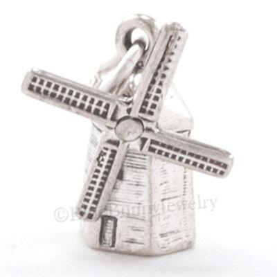 3D WINDMILL 925 Pendant Bracelet Charm Dutch Holland Travel STERLING SILVER