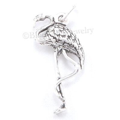 3D PINK FLAMINGO Florida Bird Solid 925 Sterling Silver Pendant Bracelet Charm
