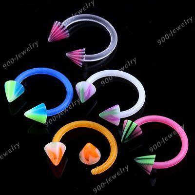10x 16G UV Candy Color Taper Horseshoe Septum Nose Ring Stud Piercing Kit Set US - Horseshoe Kit