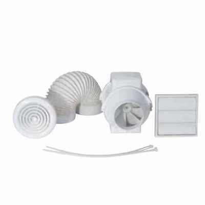 Airflow Aventa AV100T Kit 100mm In Line Mixed Flow Timer Bathroom Extractor Fan