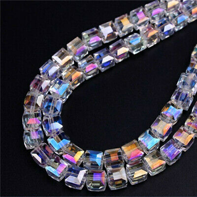 2mm 4mm 6mm 8mm 10mm White AB Colorful Square Cube Austria Crystal Beads DIY - Ab Cube