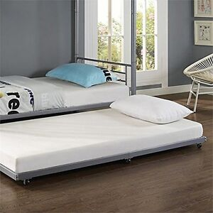 we furniture bt40tbsl silver metal roll out twin trundle bed new