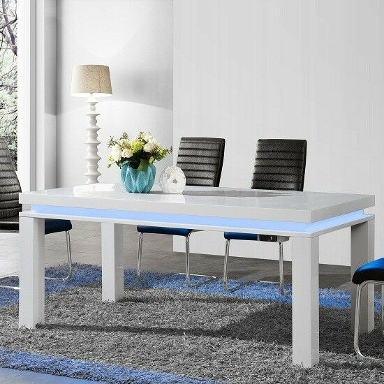 Lenovo Dining Table In White High Gloss With LED Lights 188