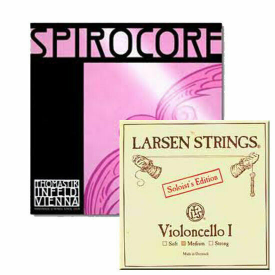 YDC Cello Strings  Set 4/4 Larsen Medium A,D  , Spirocore Tungsten G,C