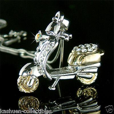Motorisierte Roller (~ 3D Motorisiert Roller ~ mit Swarovski Kristall Realistisch Motorrad Halskette)
