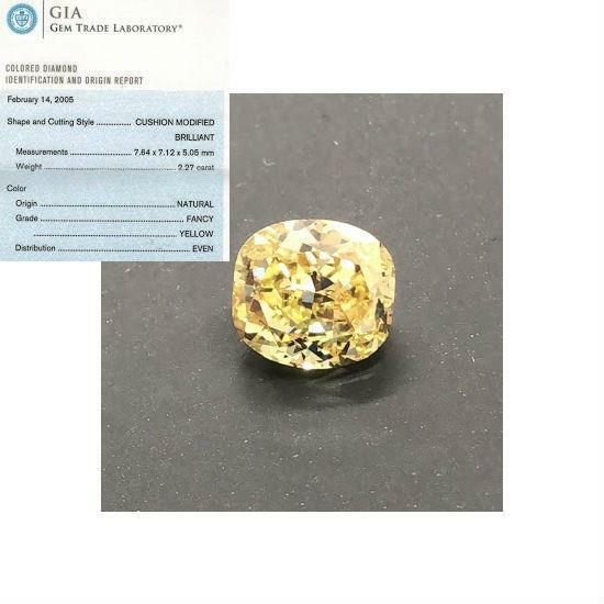 GIA CERTIFIED DIAMOND CUSHION BRILLIANT 2.27 CARAT FANCY YELLOW EVEN SOLITAIRE
