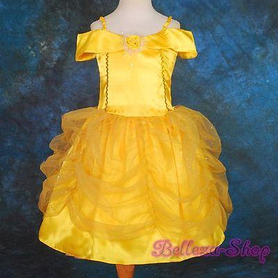 Cartoon Princess Belle Halloween Fancy Party Dress Costume Girl Sz 18-24m FC017