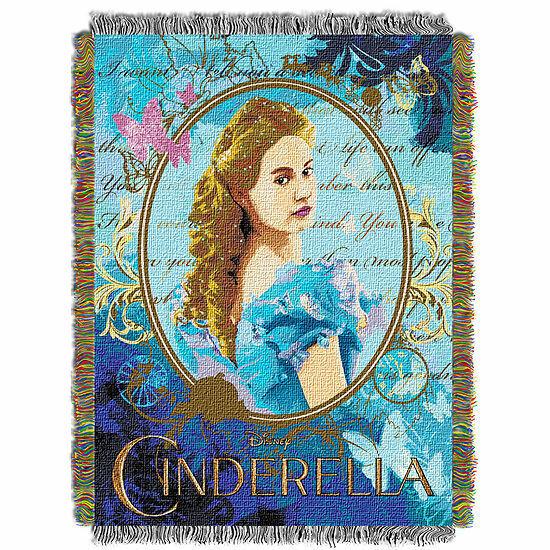 NEW Disney's Cinderella Woven Tapestry Throw Blanket 48 x 60
