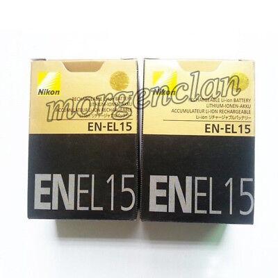 Two (2x) EN-EL15 Battery For Nikon D7000 D800 D800E D7000 D600 MB-D11/D12 NEW