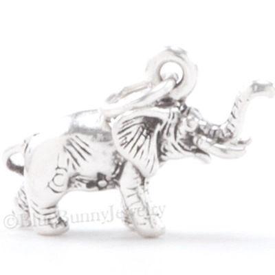 ELEPHANT Charm Pendant Africa Safari Zoo Animal 925 STERLING SILVER 3D .925 Elephant Animal Charm Pendant
