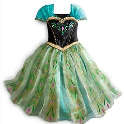 Kids Girls Green Frozen Queen Anna Princess Dress Costume Party Play - Anna Green Dress Kostüm