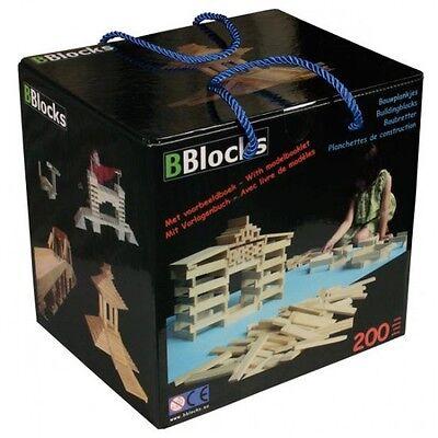 BBlocks 200 Holz-Bausteine Naturholz Stäbe Bauhölzer in Aufbewahrungsbox